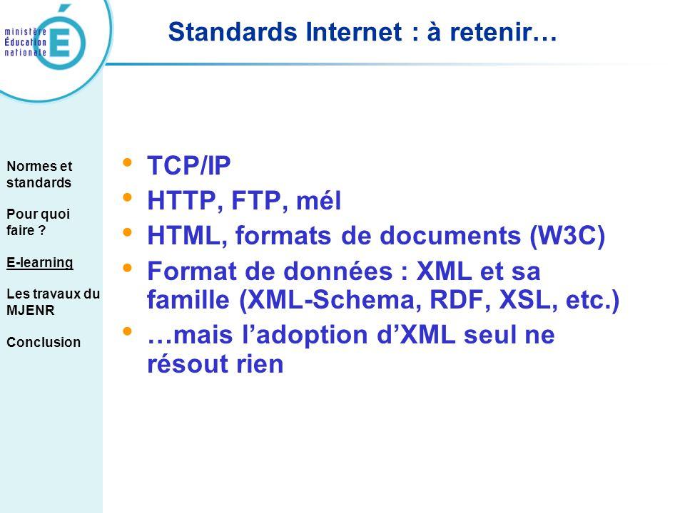 Standards Internet : à retenir… TCP/IP HTTP, FTP, mél HTML, formats de documents (W3C) Format de données : XML et sa famille (XML-Schema, RDF, XSL, et