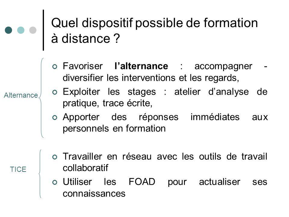 Quel dispositif possible de formation à distance ? Favoriser lalternance : accompagner - diversifier les interventions et les regards, Exploiter les s