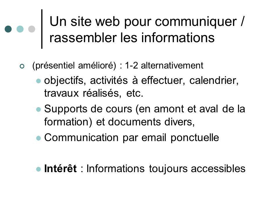 Un site web pour communiquer / rassembler les informations (présentiel amélioré) : 1-2 alternativement objectifs, activités à effectuer, calendrier, t