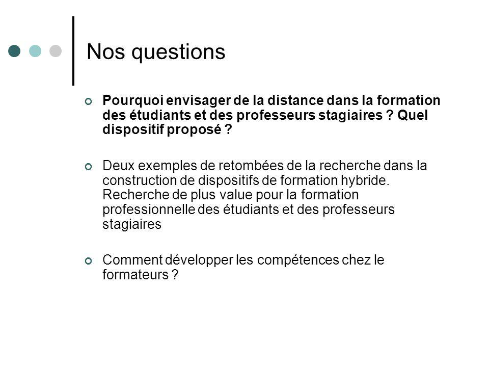 Nos questions Pourquoi envisager de la distance dans la formation des étudiants et des professeurs stagiaires ? Quel dispositif proposé ? Deux exemple