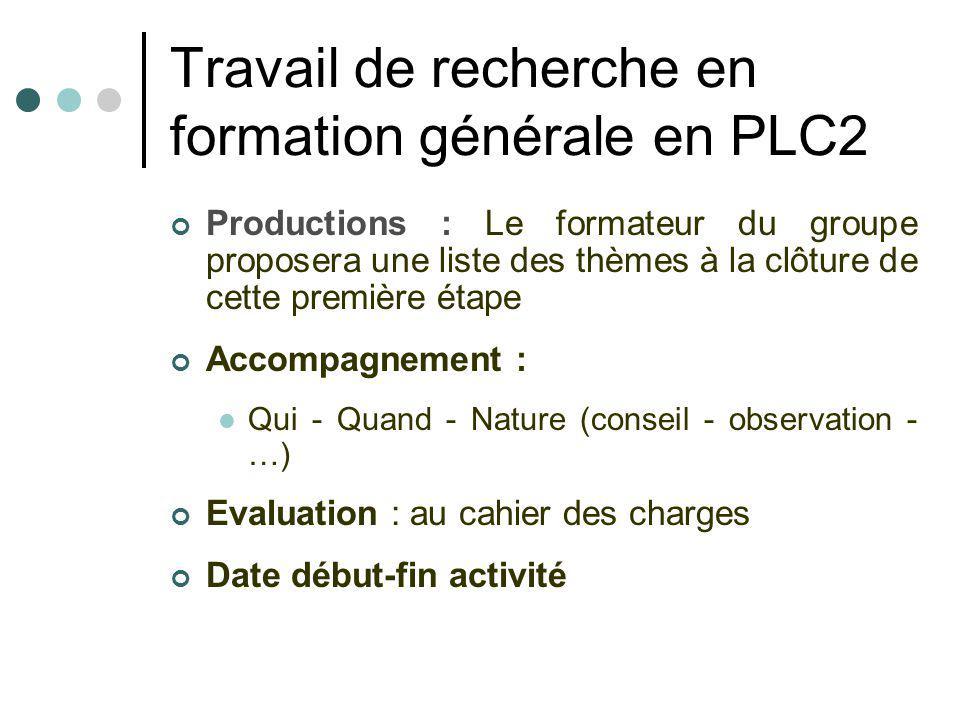Travail de recherche en formation générale en PLC2 Productions : Le formateur du groupe proposera une liste des thèmes à la clôture de cette première