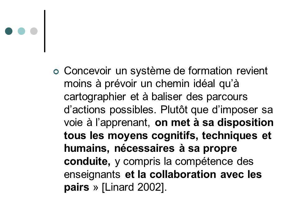 Concevoir un système de formation revient moins à prévoir un chemin idéal quà cartographier et à baliser des parcours dactions possibles.