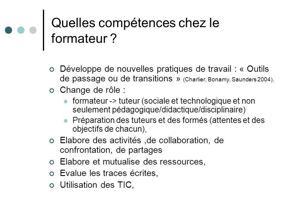 Quelles compétences chez le formateur ? Développe de nouvelles pratiques de travail : « Outils de passage ou de transitions » (Charlier, Bonamy, Saund