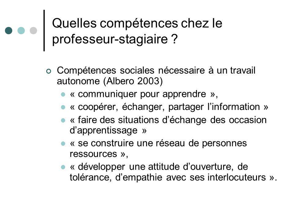 Quelles compétences chez le professeur-stagiaire ? Compétences sociales nécessaire à un travail autonome (Albero 2003) « communiquer pour apprendre »,