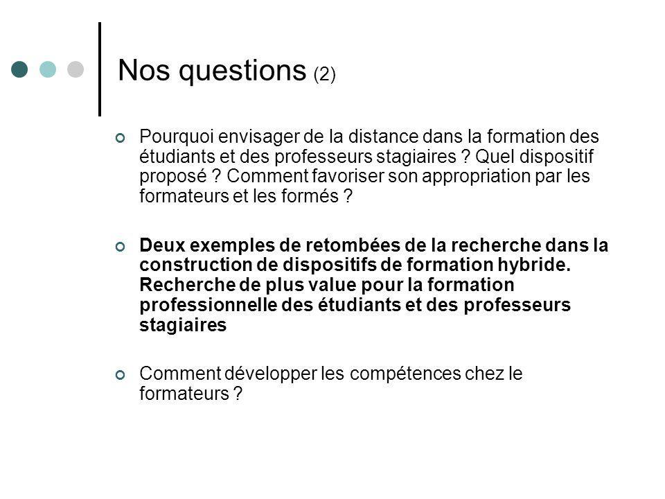 Nos questions (2) Pourquoi envisager de la distance dans la formation des étudiants et des professeurs stagiaires ? Quel dispositif proposé ? Comment