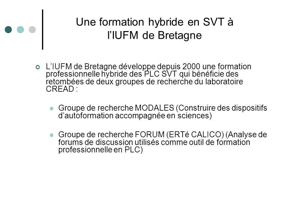 LIUFM de Bretagne développe depuis 2000 une formation professionnelle hybride des PLC SVT qui bénéficie des retombées de deux groupes de recherche du laboratoire CREAD : Groupe de recherche MODALES (Construire des dispositifs dautoformation accompagnée en sciences) Groupe de recherche FORUM (ERTé CALICO) (Analyse de forums de discussion utilisés comme outil de formation professionnelle en PLC) Une formation hybride en SVT à lIUFM de Bretagne