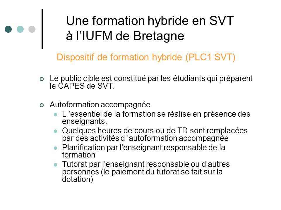 Dispositif de formation hybride (PLC1 SVT) Le public cible est constitué par les étudiants qui préparent le CAPES de SVT. Autoformation accompagnée L