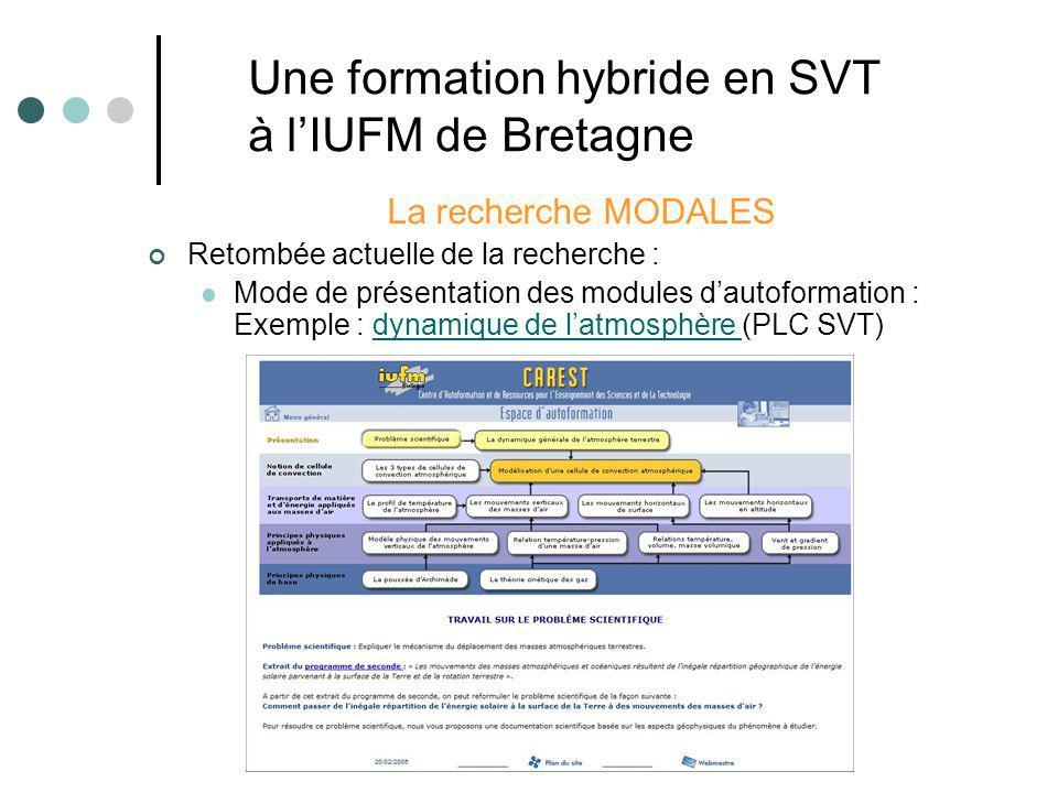 La recherche MODALES Retombée actuelle de la recherche : Mode de présentation des modules dautoformation : Exemple : dynamique de latmosphère (PLC SVT)dynamique de latmosphère Une formation hybride en SVT à lIUFM de Bretagne