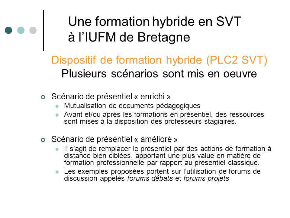 Dispositif de formation hybride (PLC2 SVT) Plusieurs scénarios sont mis en oeuvre Scénario de présentiel « enrichi » Mutualisation de documents pédago