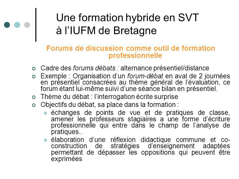 Forums de discussion comme outil de formation professionnelle Cadre des forums débats : alternance présentiel/distance Exemple : Organisation dun foru
