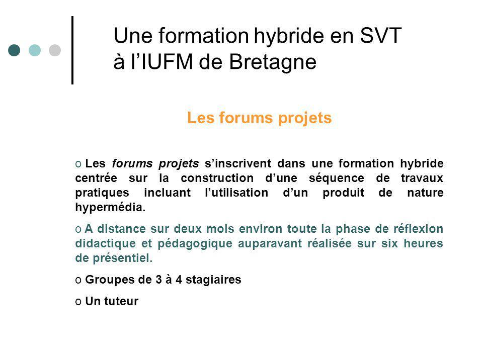 Les forums projets o Les forums projets sinscrivent dans une formation hybride centrée sur la construction dune séquence de travaux pratiques incluant lutilisation dun produit de nature hypermédia.