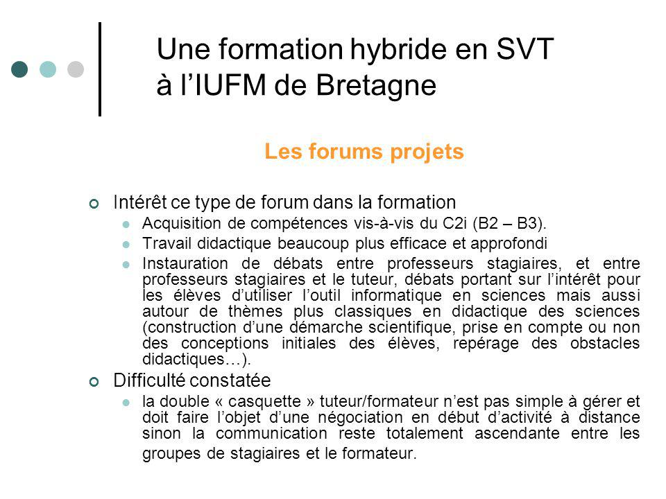 Les forums projets Intérêt ce type de forum dans la formation Acquisition de compétences vis-à-vis du C2i (B2 – B3). Travail didactique beaucoup plus