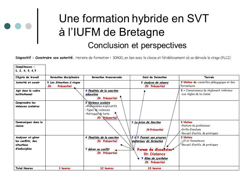 Conclusion et perspectives Une formation hybride en SVT à lIUFM de Bretagne
