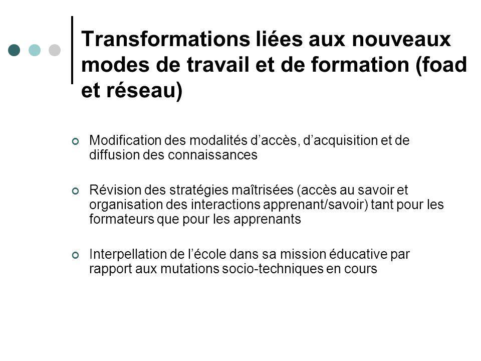 Transformations liées aux nouveaux modes de travail et de formation (foad et réseau) Modification des modalités daccès, dacquisition et de diffusion d