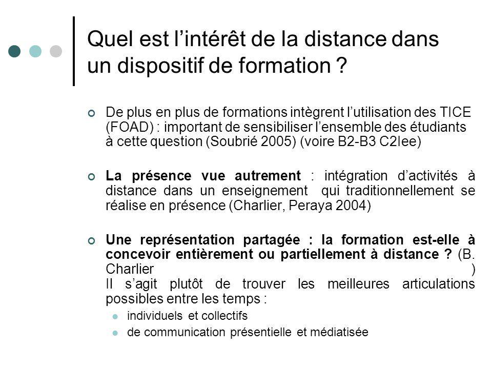 Quel est lintérêt de la distance dans un dispositif de formation ? De plus en plus de formations intègrent lutilisation des TICE (FOAD) : important de