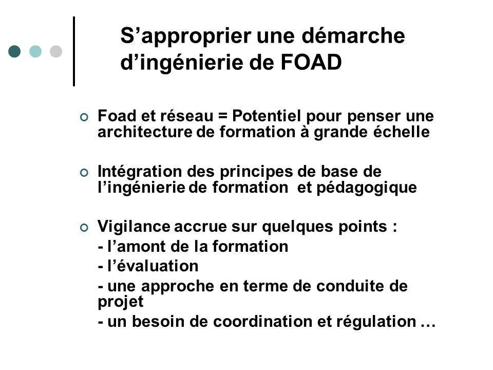 Sapproprier une démarche dingénierie de FOAD Foad et réseau = Potentiel pour penser une architecture de formation à grande échelle Intégration des principes de base de lingénierie de formation et pédagogique Vigilance accrue sur quelques points : - lamont de la formation - lévaluation - une approche en terme de conduite de projet - un besoin de coordination et régulation …