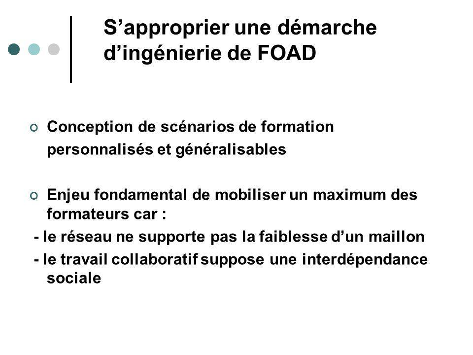 Sapproprier une démarche dingénierie de FOAD Conception de scénarios de formation personnalisés et généralisables Enjeu fondamental de mobiliser un ma
