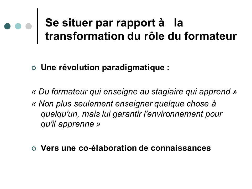Se situer par rapport à la transformation du rôle du formateur Une révolution paradigmatique : « Du formateur qui enseigne au stagiaire qui apprend » « Non plus seulement enseigner quelque chose à quelquun, mais lui garantir lenvironnement pour quil apprenne » Vers une co-élaboration de connaissances