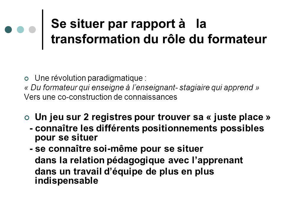 Se situer par rapport à la transformation du rôle du formateur Une révolution paradigmatique : « Du formateur qui enseigne à lenseignant- stagiaire qu