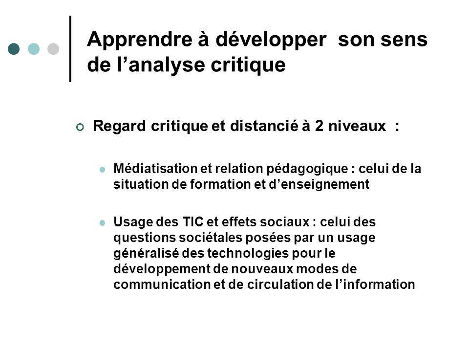 Apprendre à développer son sens de lanalyse critique Regard critique et distancié à 2 niveaux : Médiatisation et relation pédagogique : celui de la si