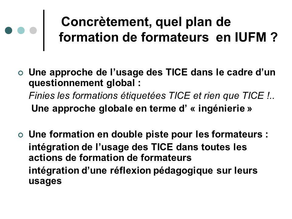 Concrètement, quel plan de formation de formateurs en IUFM ? Une approche de lusage des TICE dans le cadre dun questionnement global : Finies les form