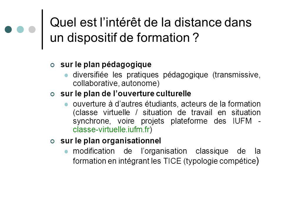 Quel est lintérêt de la distance dans un dispositif de formation ? sur le plan pédagogique diversifiée les pratiques pédagogique (transmissive, collab
