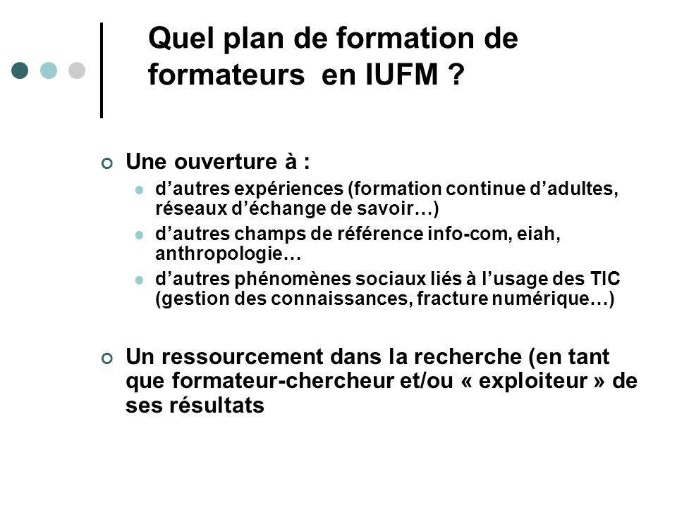 Quel plan de formation de formateurs en IUFM ? Une ouverture à : dautres expériences (formation continue dadultes, réseaux déchange de savoir…) dautre