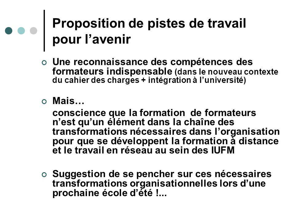Proposition de pistes de travail pour lavenir Une reconnaissance des compétences des formateurs indispensable (dans le nouveau contexte du cahier des