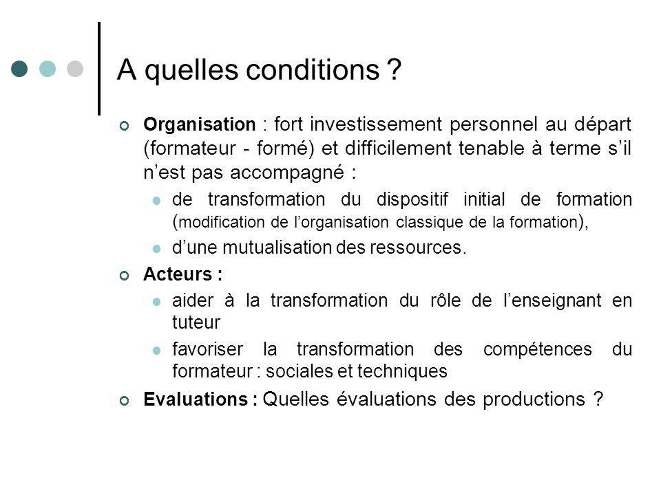 A quelles conditions ? Organisation : fort investissement personnel au départ (formateur - formé) et difficilement tenable à terme sil nest pas accomp