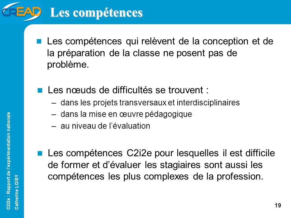 C2i2e : Rapport de lexpérimentation nationale Catherine LOISY 18 Lévaluation des compétences Domaine B4 : « Compétences dévaluation » –Ces compétences sont difficiles.