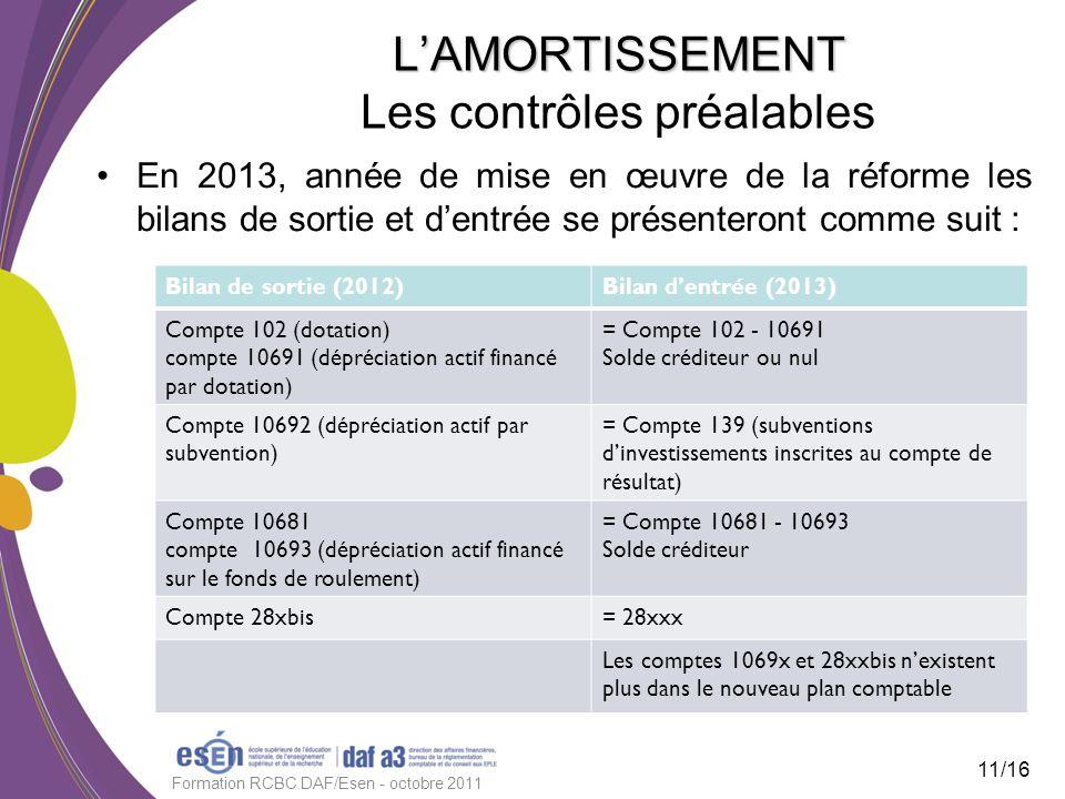 LAMORTISSEMENT LAMORTISSEMENT Les contrôles préalables En 2013, année de mise en œuvre de la réforme les bilans de sortie et dentrée se présenteront c