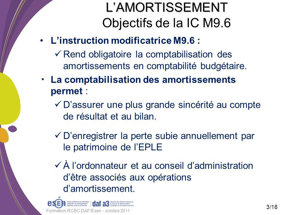 LAMORTISSEMENT LAMORTISSEMENT Objectifs de la IC M9.6 Linstruction modificatrice M9.6 : Rend obligatoire la comptabilisation des amortissements en com