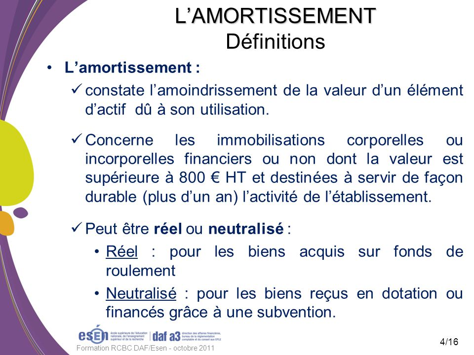 LAMORTISSEMENT LAMORTISSEMENT Définitions Lamortissement : constate lamoindrissement de la valeur dun élément dactif dû à son utilisation. Concerne le