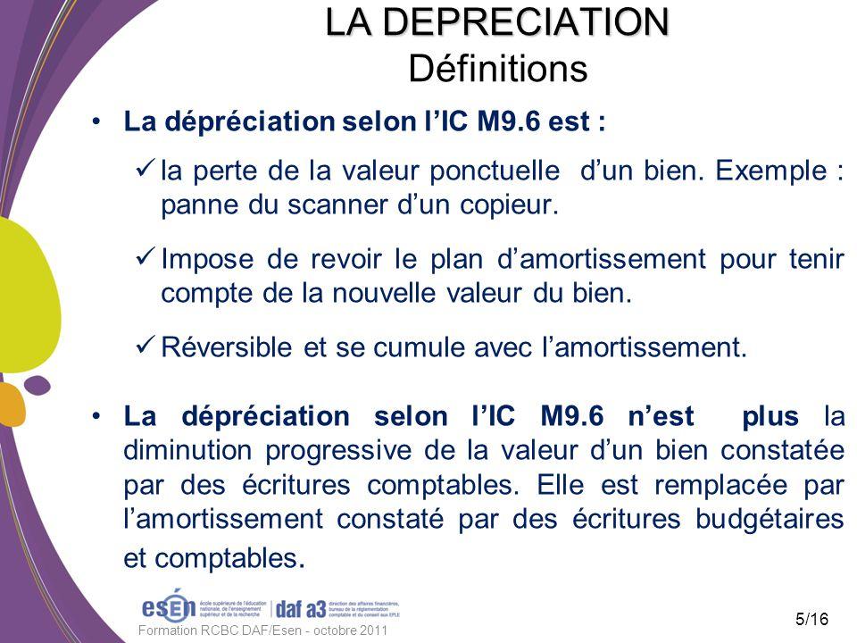 LA DEPRECIATION LA DEPRECIATION Définitions La dépréciation selon lIC M9.6 est : la perte de la valeur ponctuelle dun bien. Exemple : panne du scanner
