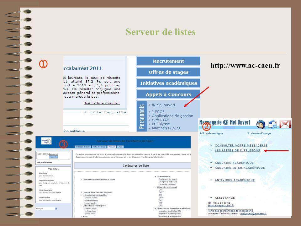 Serveur de listes http://www.ac-caen.fr