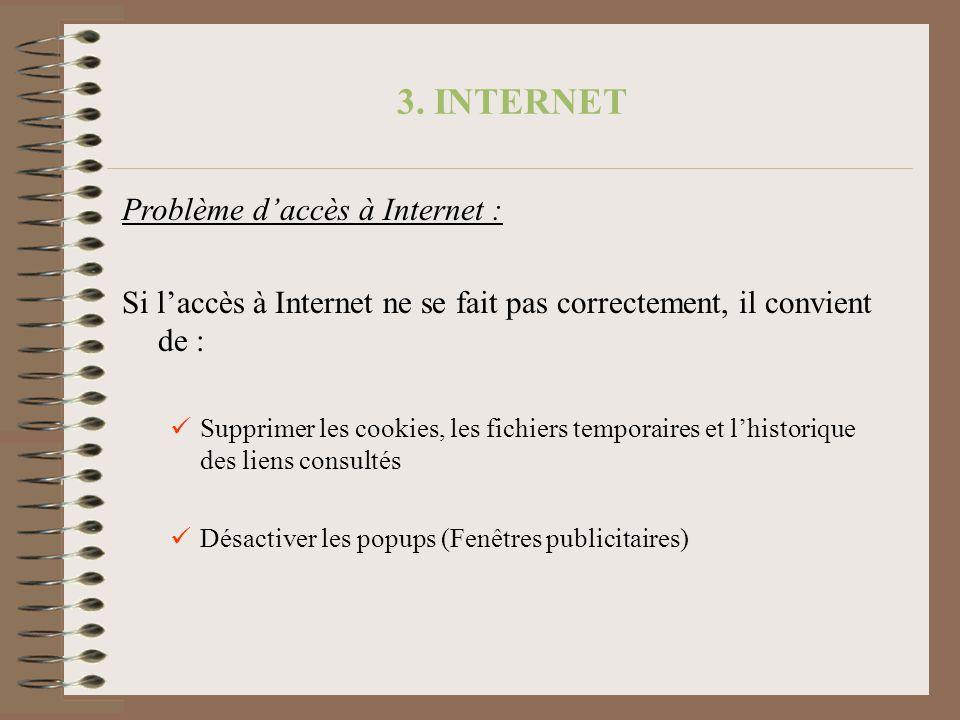 Problème daccès à Internet : Si laccès à Internet ne se fait pas correctement, il convient de : Supprimer les cookies, les fichiers temporaires et lhi