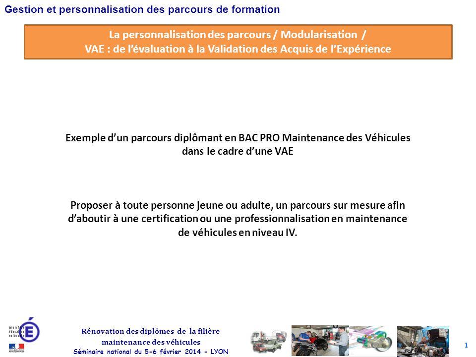 1 Rénovation des diplômes de la filière maintenance des véhicules Séminaire national du 5-6 février 2014 - LYON Gestion et personnalisation des parcou