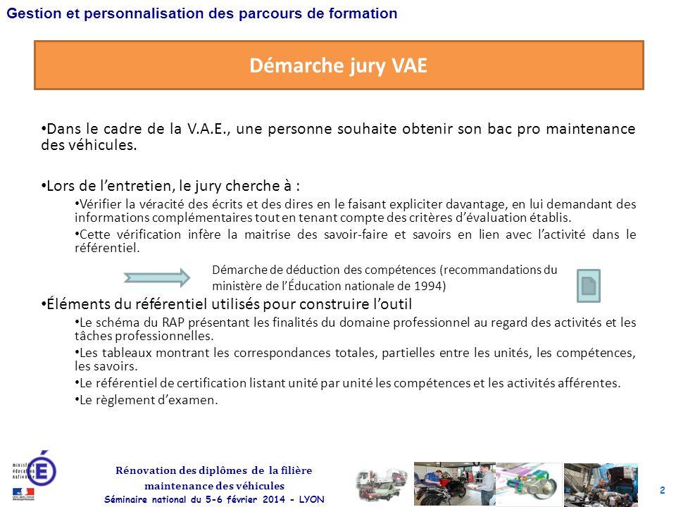 2 Rénovation des diplômes de la filière maintenance des véhicules Séminaire national du 5-6 février 2014 - LYON Gestion et personnalisation des parcou