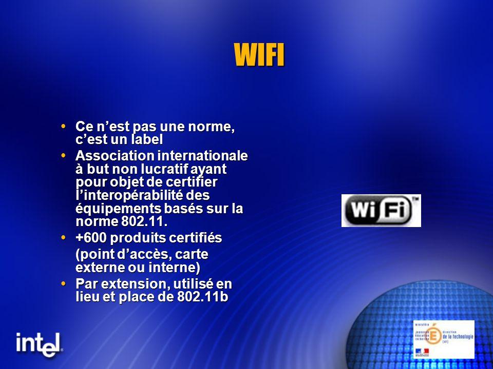 WIFI Ce nest pas une norme, cest un label Ce nest pas une norme, cest un label Association internationale à but non lucratif ayant pour objet de certifier linteropérabilité des équipements basés sur la norme 802.11.
