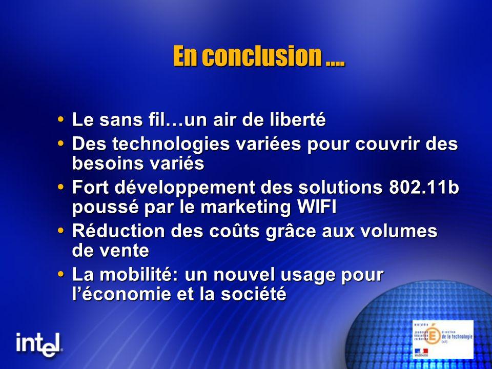 En conclusion …. Le sans fil…un air de liberté Le sans fil…un air de liberté Des technologies variées pour couvrir des besoins variés Des technologies