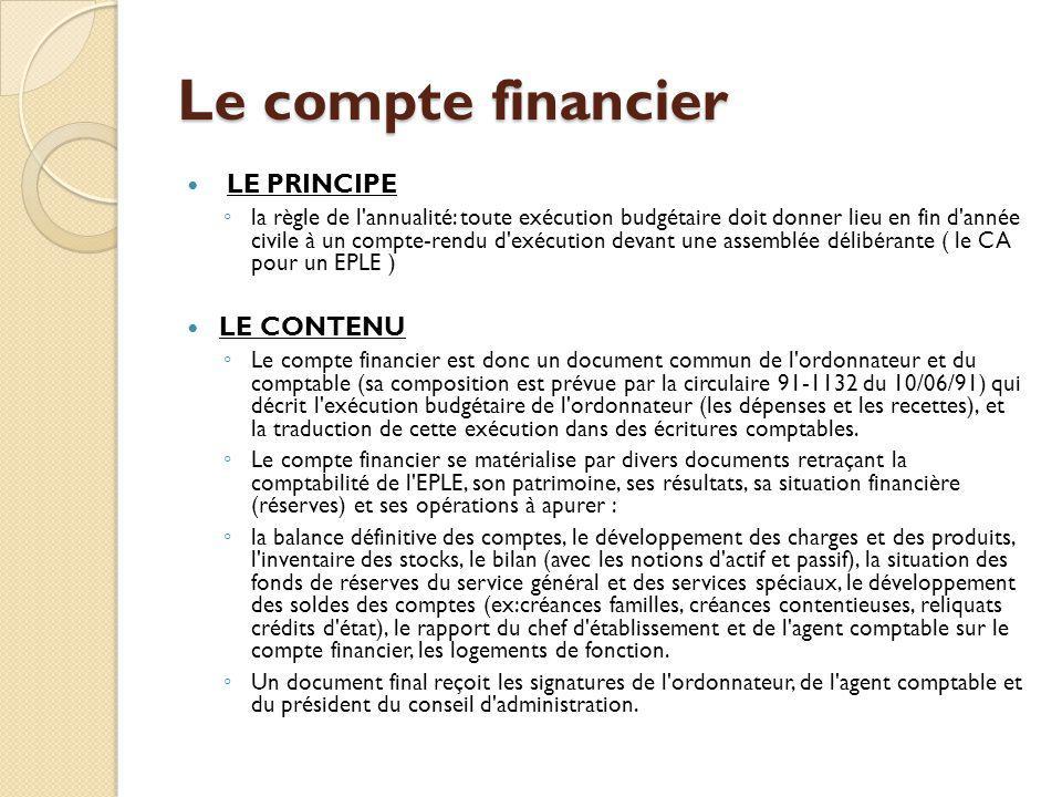 Le compte financier LE PRINCIPE la règle de l'annualité: toute exécution budgétaire doit donner lieu en fin d'année civile à un compte-rendu d'exécuti