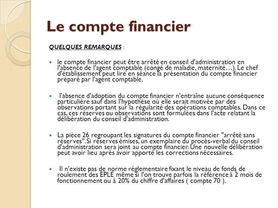 Le compte financier QUELQUES REMARQUES : le compte financier peut être arrêté en conseil d'administration en l'absence de l'agent comptable (congé de