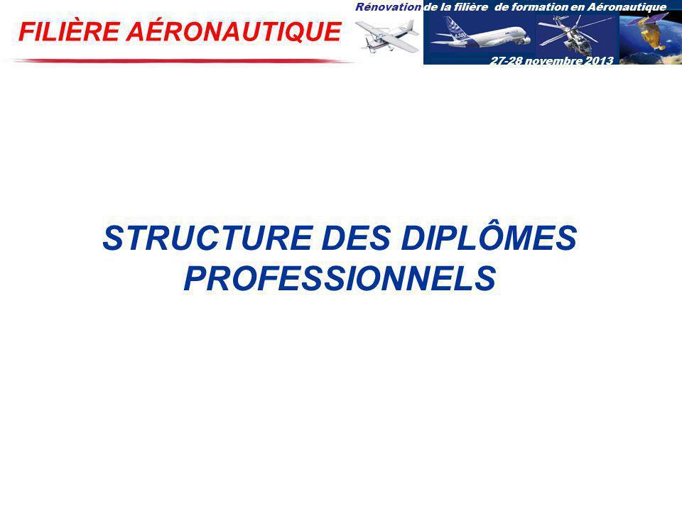 Rénovation de la filière de formation en Aéronautique 27-28 novembre 2013 FILIÈRE AÉRONAUTIQUE STRUCTURE DES DIPLÔMES PROFESSIONNELS