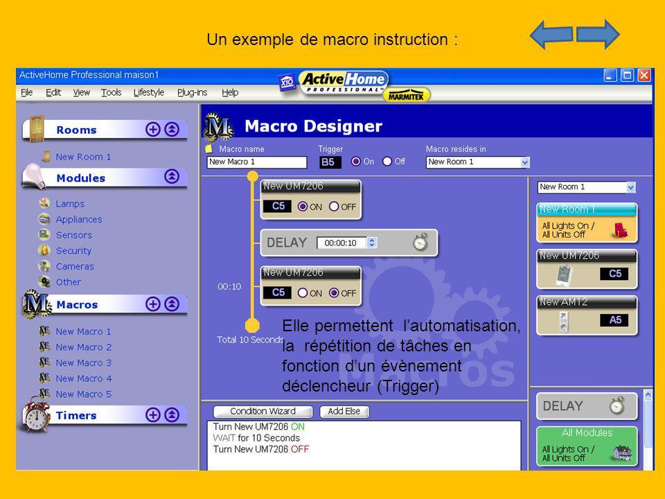 Un exemple de macro instruction : Elle permettent lautomatisation, la répétition de tâches en fonction dun évènement déclencheur (Trigger)