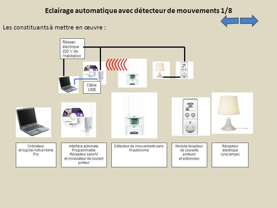 Eclairage automatique avec détecteur de mouvements 1/8 Ordinateur et logiciel Active Home Pro Interface automate Programmable Récepteur sans fil et mo
