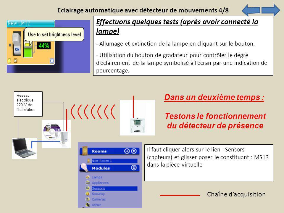 Effectuons quelques tests (après avoir connecté la lampe) - Allumage et extinction de la lampe en cliquant sur le bouton. - Utilisation du bouton de g