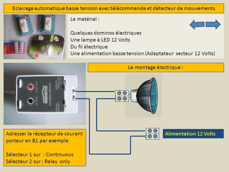 Eclairage automatique basse tension avec télécommande et détecteur de mouvements Le matériel : Quelques dominos électriques Une lampe à LED 12 Volts D