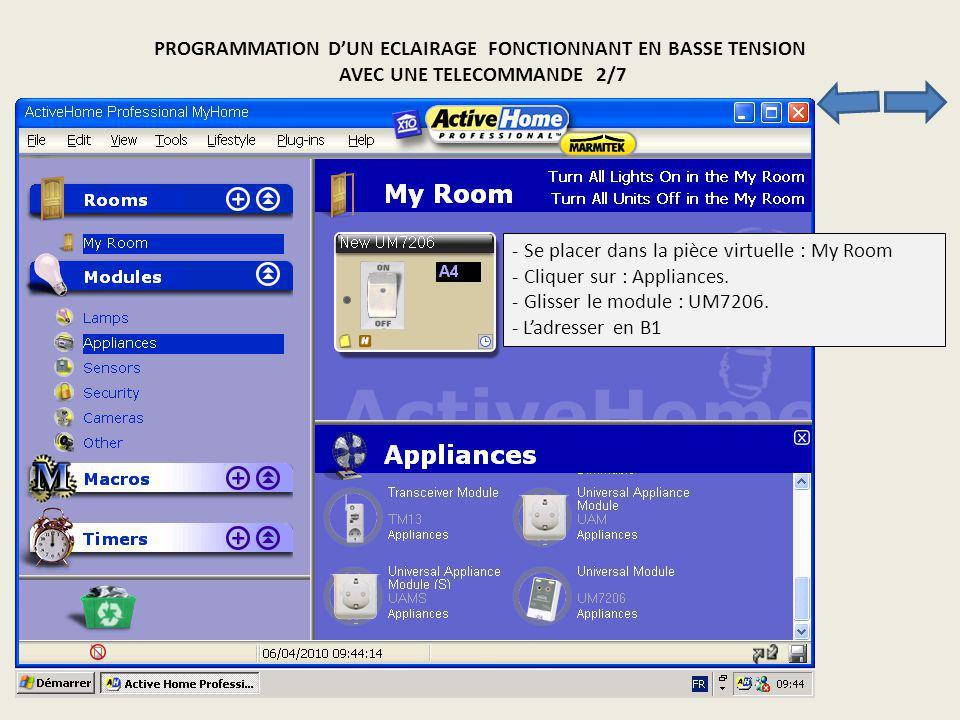 PROGRAMMATION DUN ECLAIRAGE FONCTIONNANT EN BASSE TENSION AVEC UNE TELECOMMANDE 2/7 - Se placer dans la pièce virtuelle : My Room - Cliquer sur : Appl