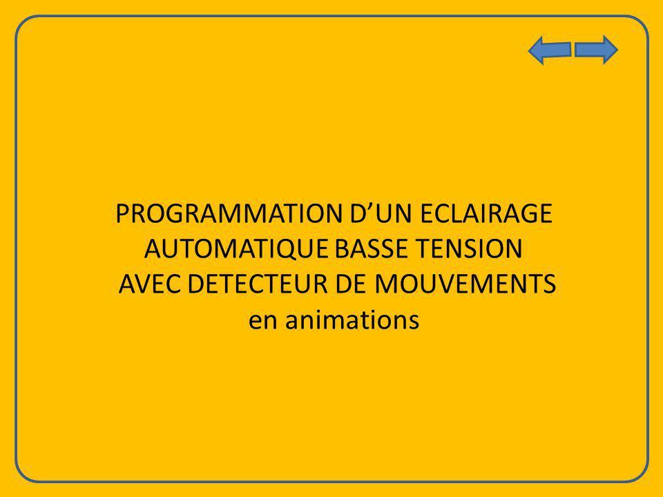 PROGRAMMATION DUN ECLAIRAGE AUTOMATIQUE BASSE TENSION AVEC DETECTEUR DE MOUVEMENTS en animations