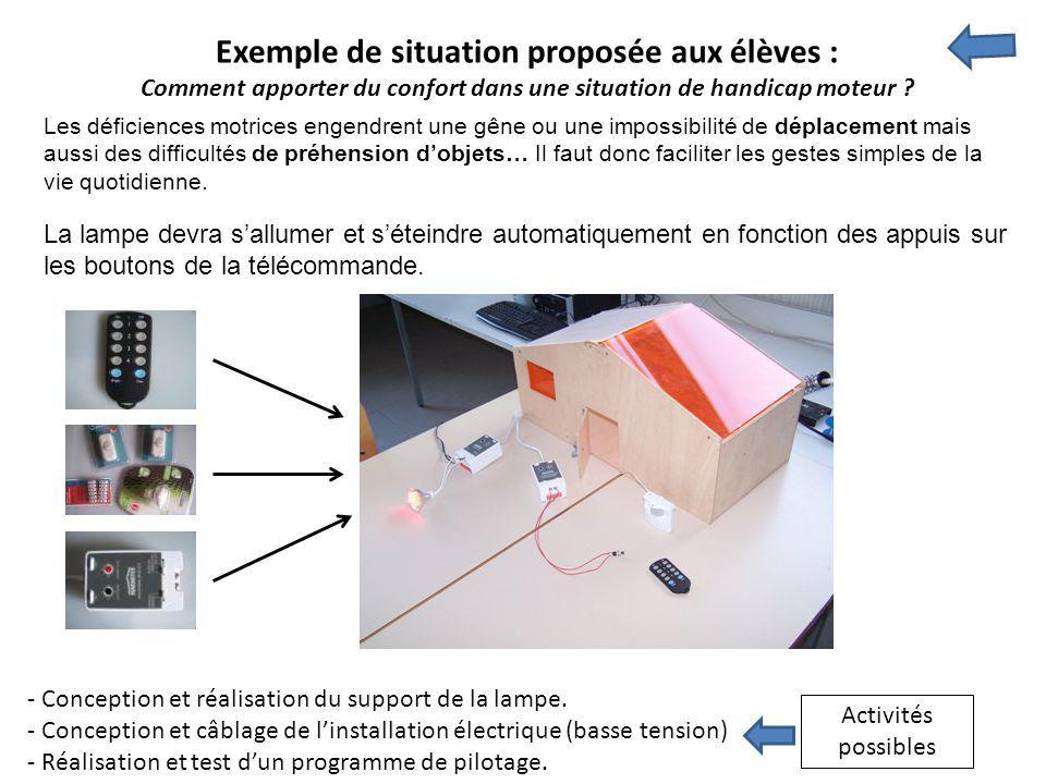 Exemple de situation proposée aux élèves : Comment apporter du confort dans une situation de handicap moteur ? - Conception et réalisation du support